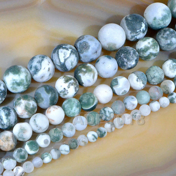 Matte Natural Ocean Jasper Gemstone Round Loose Beads on a 15.5