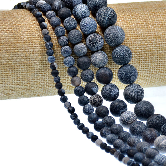 Matte Natural Black Fire Agate Gemstone Round Loose Beads on a 15.5