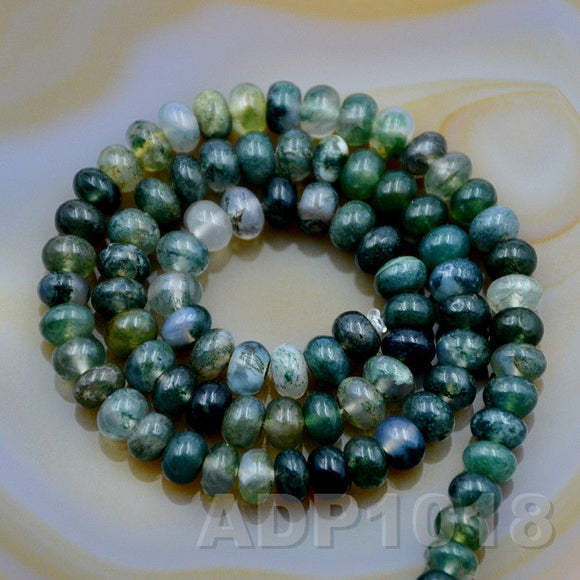 Natural Moss Agate Gemstone Smooth/Matte/Faceted Rondelle Loose Beads on a 15.5