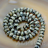 "Natural Dalmation Jasper Gemstone Smooth/Matte/Faceted Rondelle Loose Beads on a 15.5"" Strand"