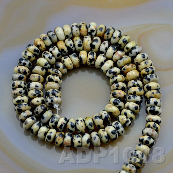 Natural Dalmation Jasper Gemstone Smooth/Matte/Faceted Rondelle Loose Beads on a 15.5