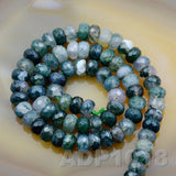 "Natural Moss Agate Gemstone Smooth/Matte/Faceted Rondelle Loose Beads on a 15.5"" Strand"