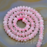 "Natural Rose Quartz Gemstone Smooth/Matte/Faceted Rondelle Loose Beads on a 15.5"" Strand"