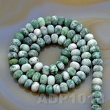 "Natural Green Spot Jasper Gemstone Smooth/Matte/Faceted Rondelle Loose Beads on a 15.5"" Strand"