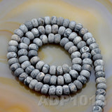"Natural Map Jasper Gemstone Smooth/Matte/Faceted Rondelle Loose Beads on a 15.5"" Strand"