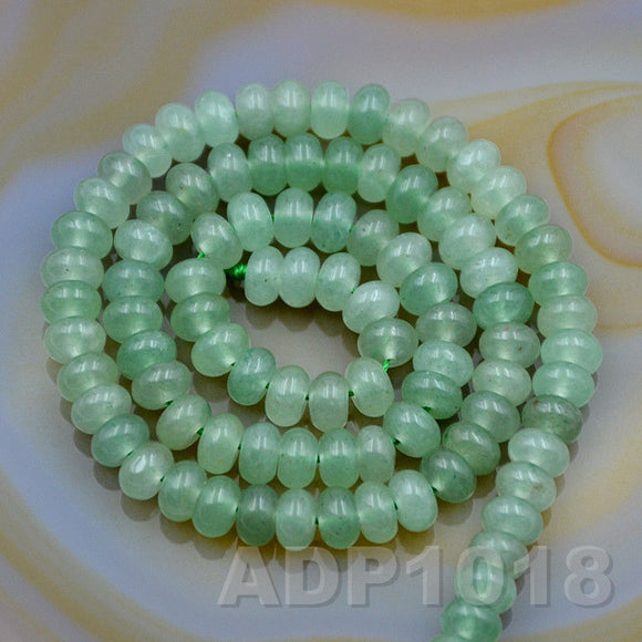 Natural Green Aventurine Gemstone Smooth/Matte/Faceted Rondelle Loose Beads on a 15.5