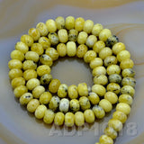 "Natural Yellow Turquoise Gemstone Smooth/Matte/Faceted Rondelle Loose Beads on a 15.5"" Strand"