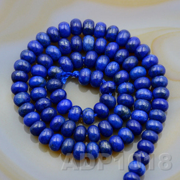 Natural Lapis Lazuli Gemstone Smooth/Matte/Faceted Rondelle Loose Beads on a 15.5