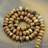 "Natural Picture Jasper Smooth/Matte/Faceted Rondelle Loose Beads on a 15.5"" Strand"