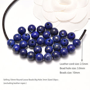 AD Beads Natural Gemstone 10mm Round Loose Beads Big Hole 3mm Sized 30pcs