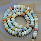 "Natural Colorful Amazonite Gemstone Smooth/Matte/Faceted Rondelle Loose Beads on a 15.5"" Strand"