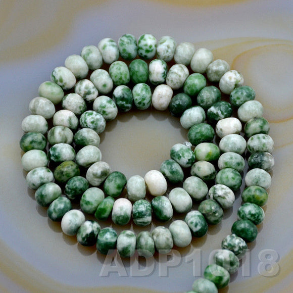 Natural Green Spot Jasper Gemstone Smooth/Matte/Faceted Rondelle Loose Beads on a 15.5