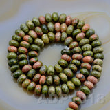 "Natural Unakite Gemstone Smooth/Matte/Faceted Rondelle Loose Beads on a 15.5"" Strand"