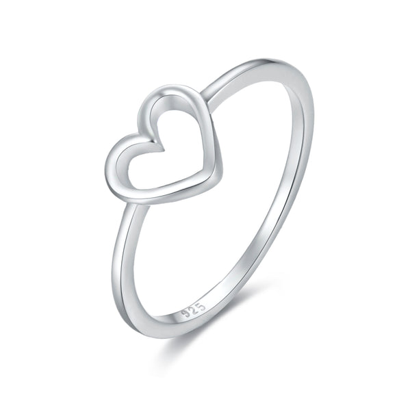 AD Beads 925 Sterling Silver Heart Ring Size #6, #7,#8, #9 for Women, Men, Adults, and Teens