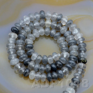 "Natural Cloud Crystal Quartz Gemstone Smooth/Matte/Faceted Rondelle Loose Beads on a 15.5"" Strand"
