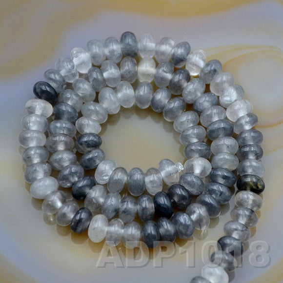 Natural Cloud Crystal Quartz Gemstone Smooth/Matte/Faceted Rondelle Loose Beads on a 15.5