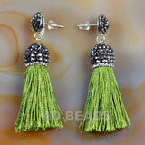 Fashion Crystal Silk Tassel Rhinestone Cap Fringe Dangle Earrings
