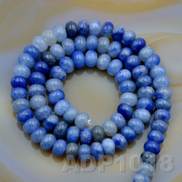 Natural Blue Aventurine Gemstone Smooth/Matte/Faceted Rondelle Loose Beads on a 15.5