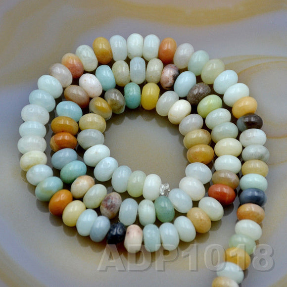 Natural Colorful Amazonite Gemstone Smooth/Matte/Faceted Rondelle Loose Beads on a 15.5