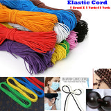 "1mm 1/16"" 25 Yards Round Color Elastic string for Jewelry making, Craft, Clothing and DIY Face Mask Ear Hanging Cord"