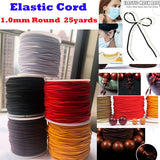 "1mm (1/16"") round Elastic string 25 yards roll for Jewelry making, craft, clothing and ear hanging cord for DIY Face Masks"