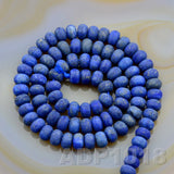 "Natural Lapis Lazuli Gemstone Smooth/Matte/Faceted Rondelle Loose Beads on a 15.5"" Strand"