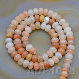 "Natural Pink Aventurine Gemstone Smooth/Matte/Faceted Rondelle Loose Beads on a 15.5"" Strand"