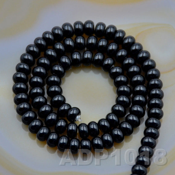 Natural Black Onyx Smooth/Matte/Faceted Rondelle Loose Beads on a 15.5