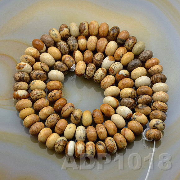 Natural Picture Jasper Smooth/Matte/Faceted Rondelle Loose Beads on a 15.5