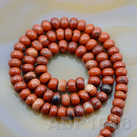 Natural Red River Jasper Smooth/Matte/Faceted Rondelle Loose Beads on a 15.5