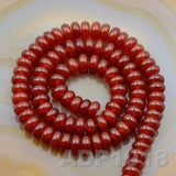 "Natural Red Agate Smooth/Matte/Faceted Rondelle Loose Beads on a 15.5"" Strand"