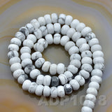 "Natural White Turquoise Smooth/Matte/Faceted Rondelle Loose Beads on a 15.5"" Strand"