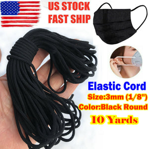 3mm (1/8 inch) width Black Round Elastic Band Cord Ear Hanging Sewing For DIY Face Mask 10 yard to 500 yard