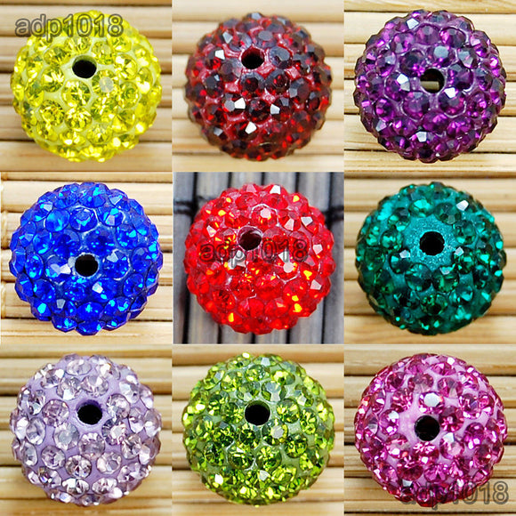 Czech Crystal Rhinestones Spacer Pave Clay Disco Ball 50 Pcs Connector Beads 10mm