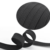 6mm (1/4 inch) width Black & White Flat Braided Elastic Band For DIY Face Mask or Clothing 10 yard to 500 yard
