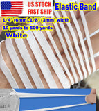 "6mm 1/4"" width Bright White Flat Elastic Band Trim Spandex for DIY face masks 10 yards to 500 yards"