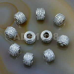 Zircon Pave Rhinestones Spacer 3 Row Rondelle and Hexagon Connector Metal Finding Charm Beads (5pc)