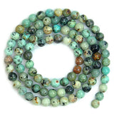 "Natural African Turquoise Round Loose Beads on a 15.5"" Strand"