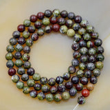 "Natural African Dragon Bloodstone Gemstone Round Loose Beads on a 15.5"" Strand"