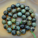 "Faceted Natural African Turquoise Gemstone Round Loose Beads on a 15.5"" Strand"