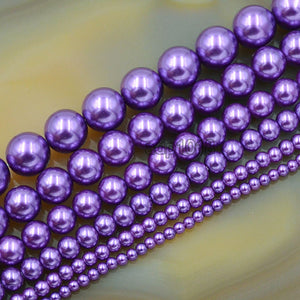 "Czech Amethyst Satin Luster Glass Pearl Round Beads on a 15.5"" Strand"