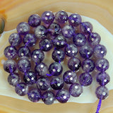"Faceted Natural Amethyst Gemstone Round Loose Beads on a 15.5"" Strand"