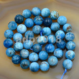 Natural Blue Apatite Gemstone Round Loose Beads on a 15.5'' Strand