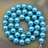 "Czech Aquamarine Blue Satin Luster Glass Pearl Round Beads on a 15.5"" Strand"