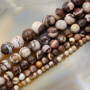 "Natural Australia Zebre Jasper Gemstone Round Loose Beads on a 15.5"" Strand"
