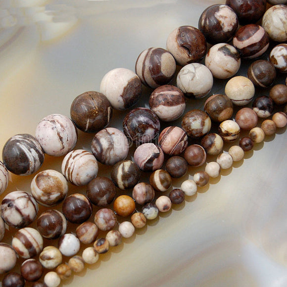 Natural Australia Zebre Jasper Gemstone Round Loose Beads on a 15.5