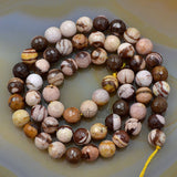 "Faceted Natural Australia Zebre Gemstone Round Loose Beads on a 15.5"" Strand"