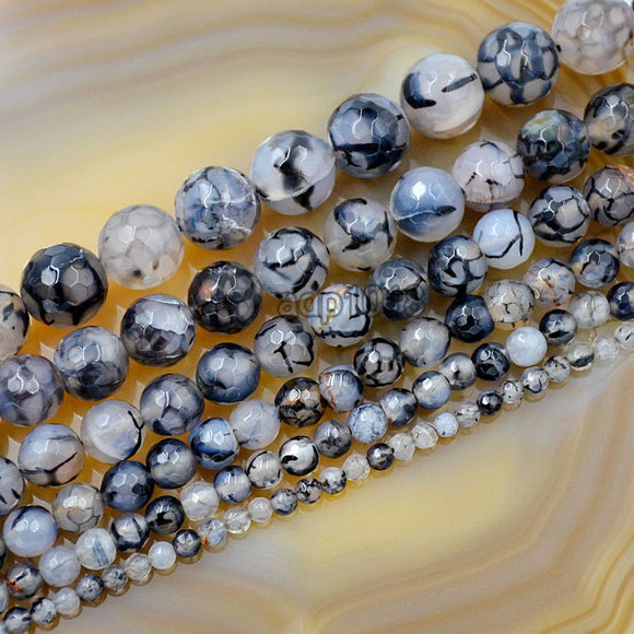 Faceted Natural Black Fire Agate Gemstone Round Loose Beads on a 15.5
