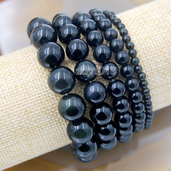 Natural Black Obsidian Gemstone Beads Stretch Bracelet Healing Reiki