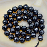 "Faceted Natural Black Onyx Gemstone Round Loose Beads on a 15.5"" Strand"